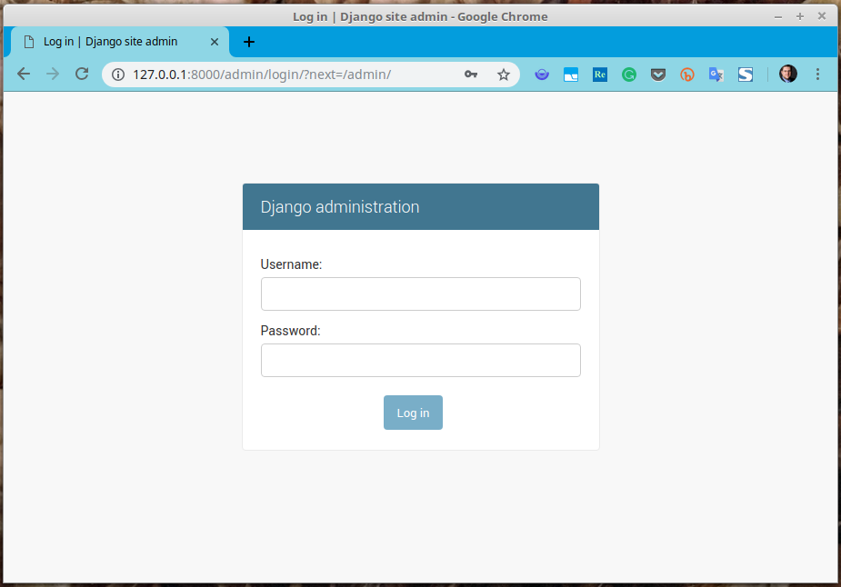 Django admin login mask